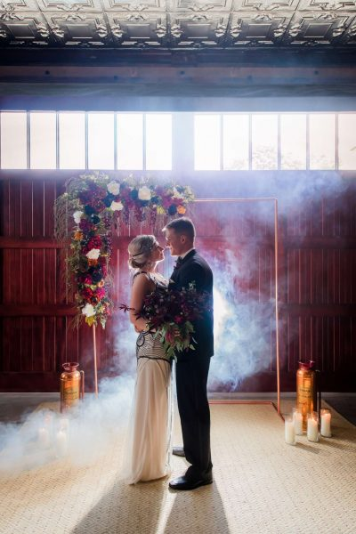 Story Hill FireHouse- Milwaukee Wedding Ceremony with dramatic lighing and fog