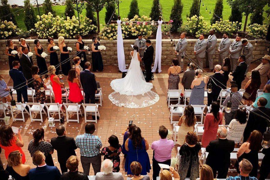 Wedding ceremony at Veterans Terrace at Echo Park