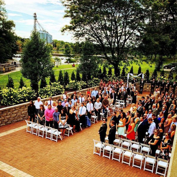 Wedding ceremony in Burlington, WI at Veterans Terrace at Echo Park