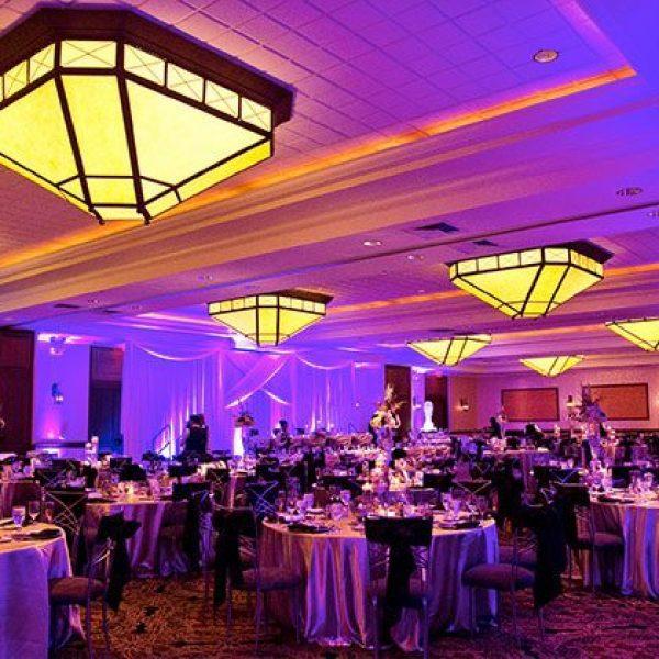 Grant Geneva wedding reception with soft purple tones
