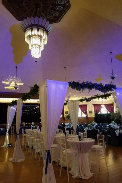 The Great Hall at the Chandelier Ballroom decked out for a wedding