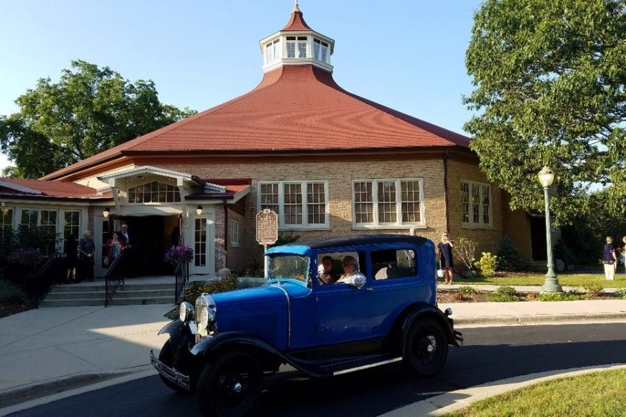Exterior of the Chandelier Ballroom with vintage car in front