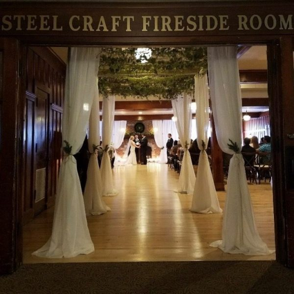wedding ceremony area in the Fireside Room