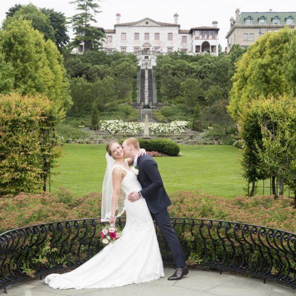 Bride and groom pose at Villa Terrace Decorative Arts Museum