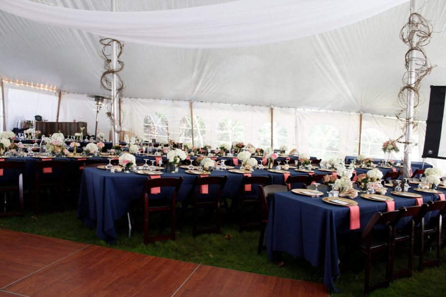 Tented wedding reception. Tent and linens from All Star Rentals in Muskego, WI