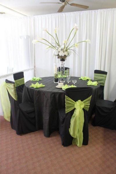 Black and lime linens and chair covers from All Star Rentals
