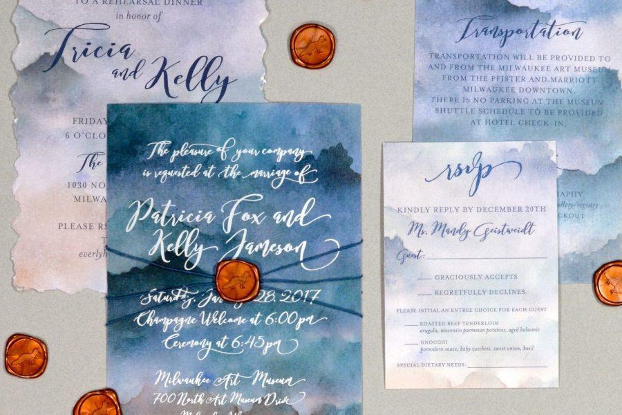 Wedding invitation suite in blues