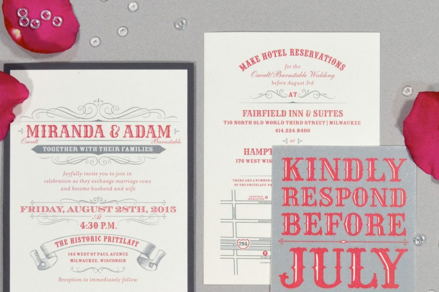 wedding invitation suite by Paperwhites in cream and pinks