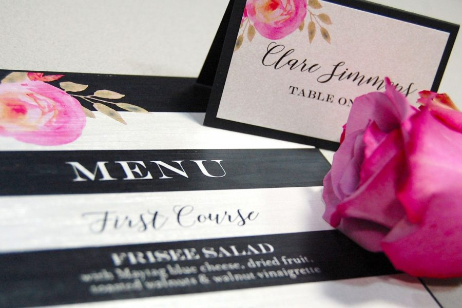 Menu and seating cards with floral design