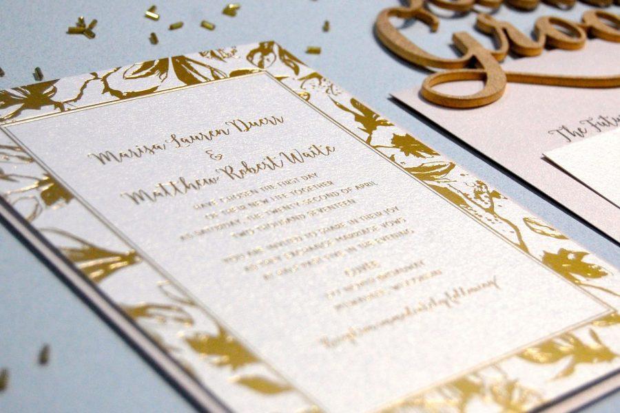 Wedding invitation with gold border