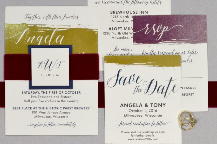 Wedding invitation suite including , RSVP, Save the Date , and Menu card