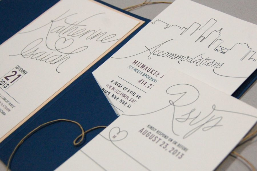 Modern wedding invitation suite by Paperwhites- Serving greater Milwaukee