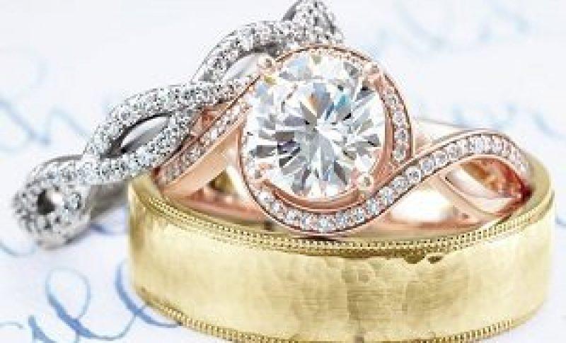 Display of three wedding rings