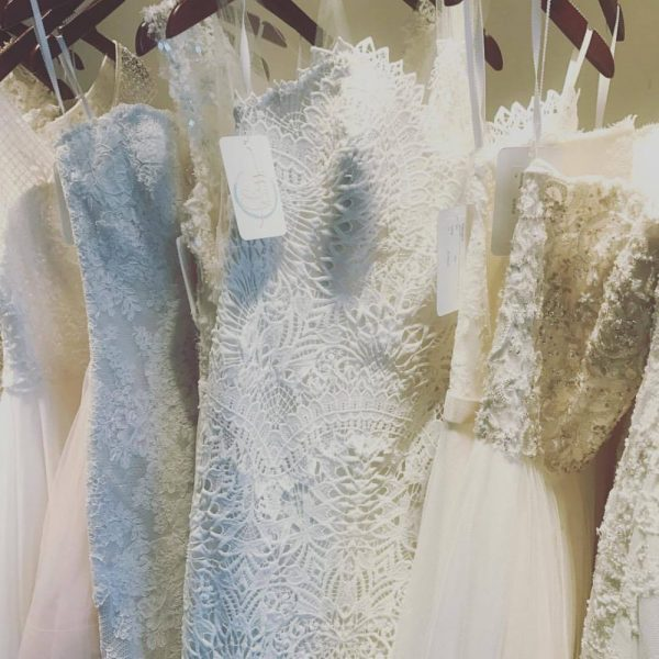 Bridal gowns hanging on the rack
