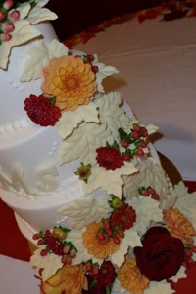 Fall themed wedding wedding cake- Sweet Perfections Bake Shoppe