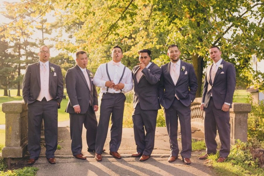 Groom and groomsmen at the Watertown Country Club