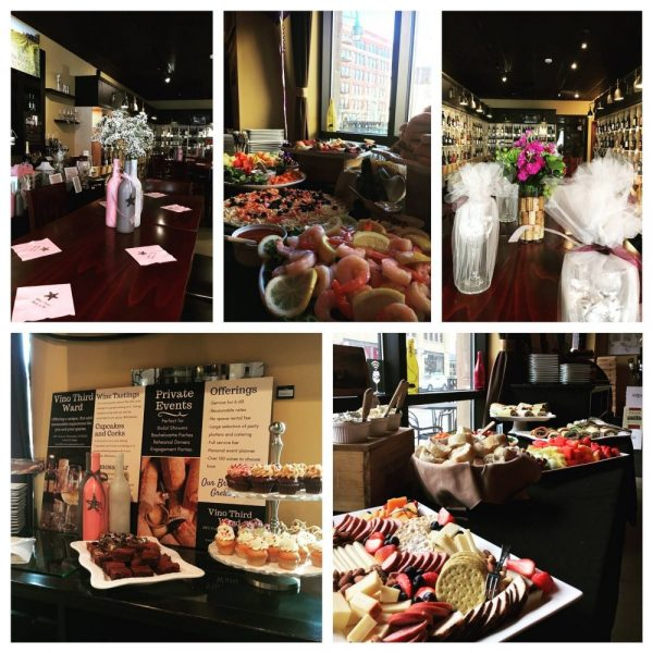 Food displayed for Bridal Showers and Bachelorette Parties at Vino Third Ward