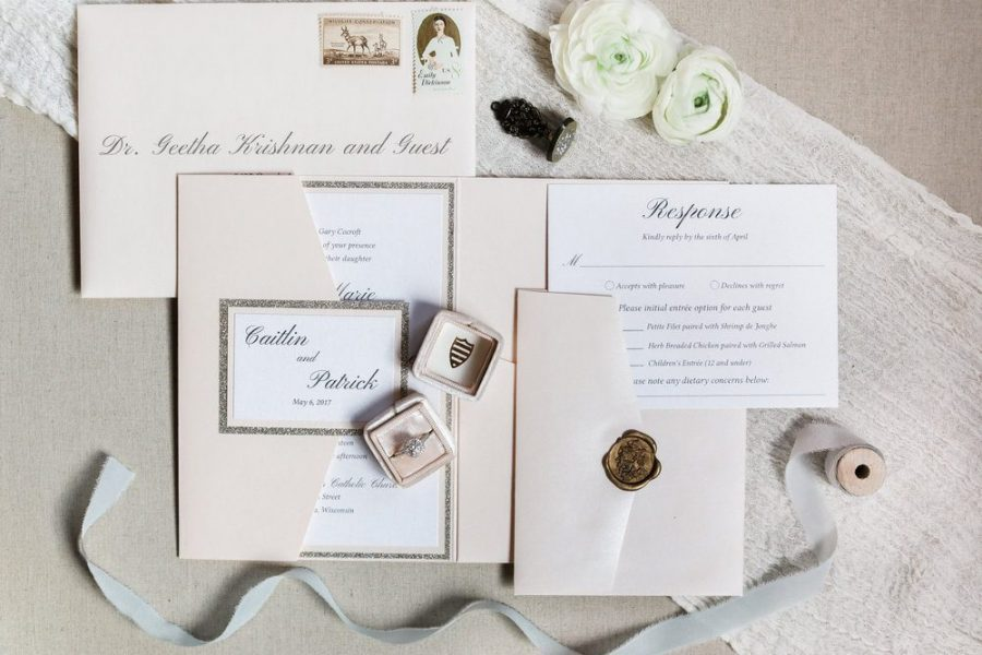 Great display of entire wedding printed material like invitations and accents items