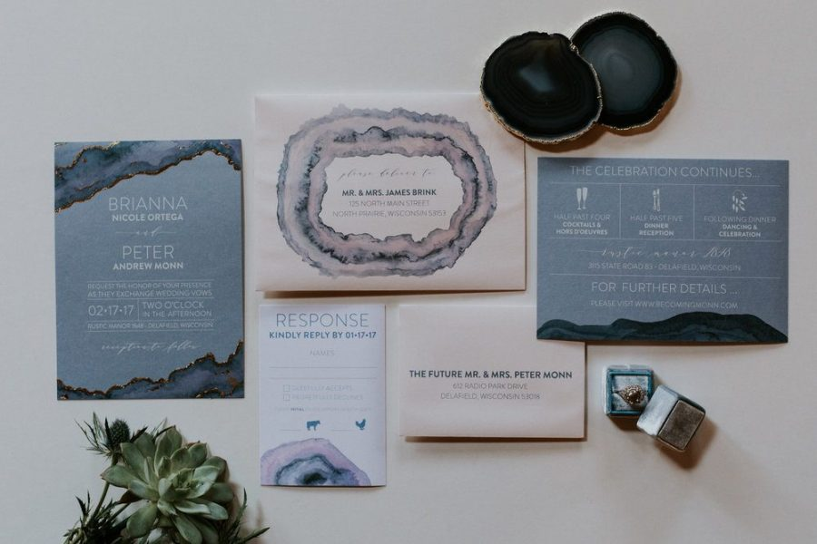 Wedding Invitations and other printed related material in blues