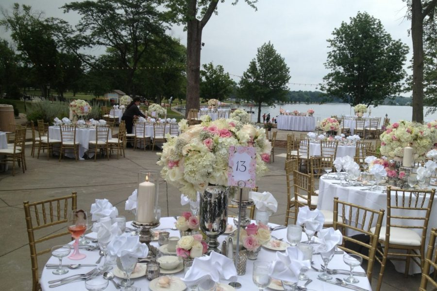 Beautiful outdoor wedding reception overlooking lake