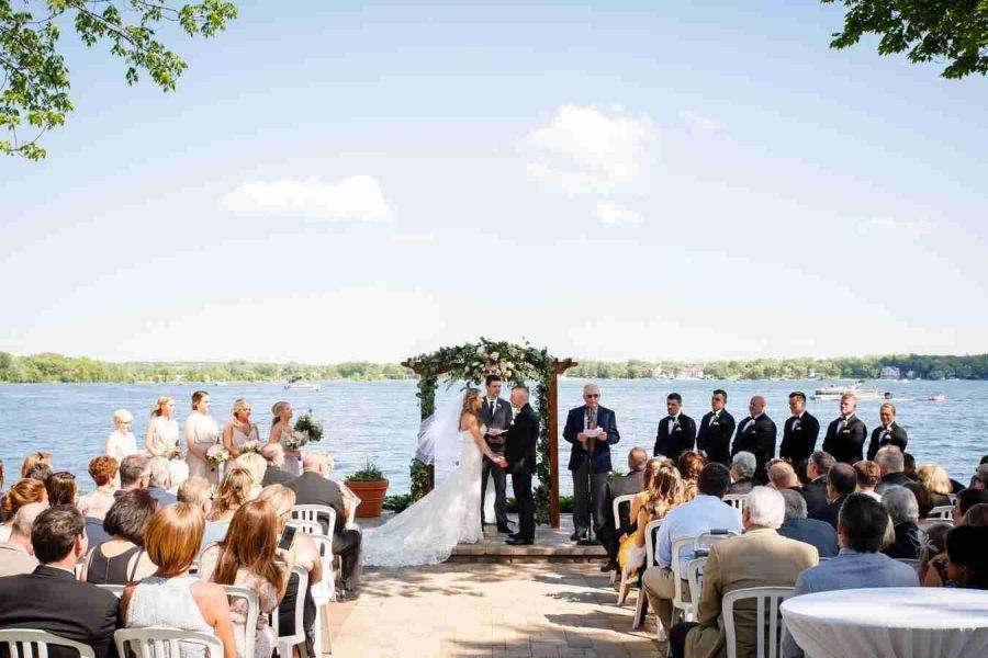 Outdoor wedding reception overlooking the lake