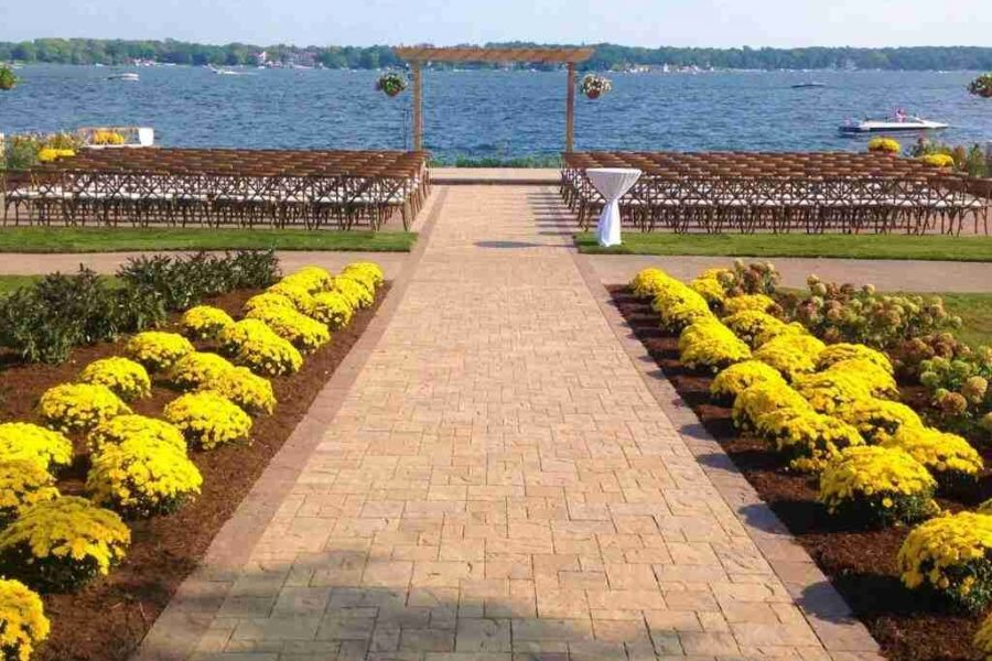 shows area for outdoor wedding ceremony overlooking lake