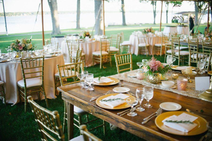 Inside wedding reception beautifully decorated