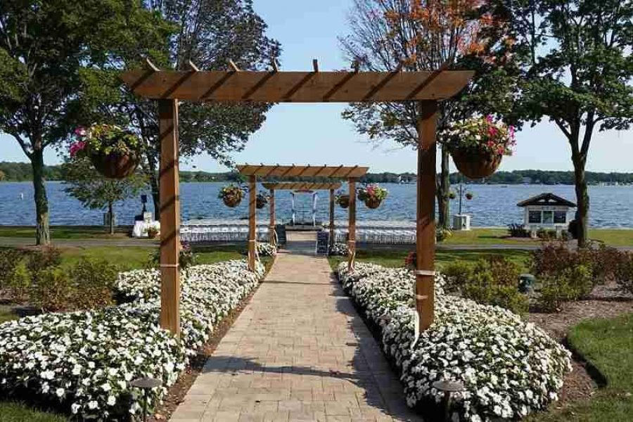 Perfect setting for outdoor wedding ceremony overlooking lake