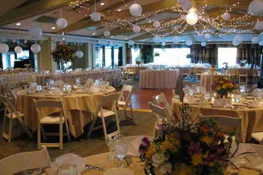 Wedding reception fully decorated at Lake Lawn Resort