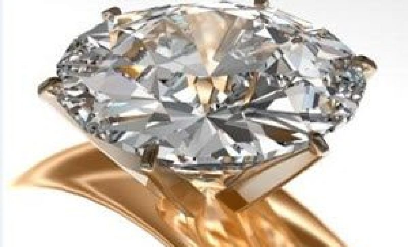 close up of diamond on engagement ring