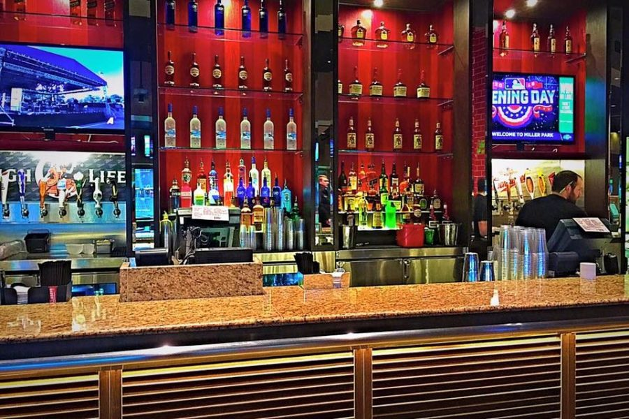 The bar at the Brew Room at Miller Park
