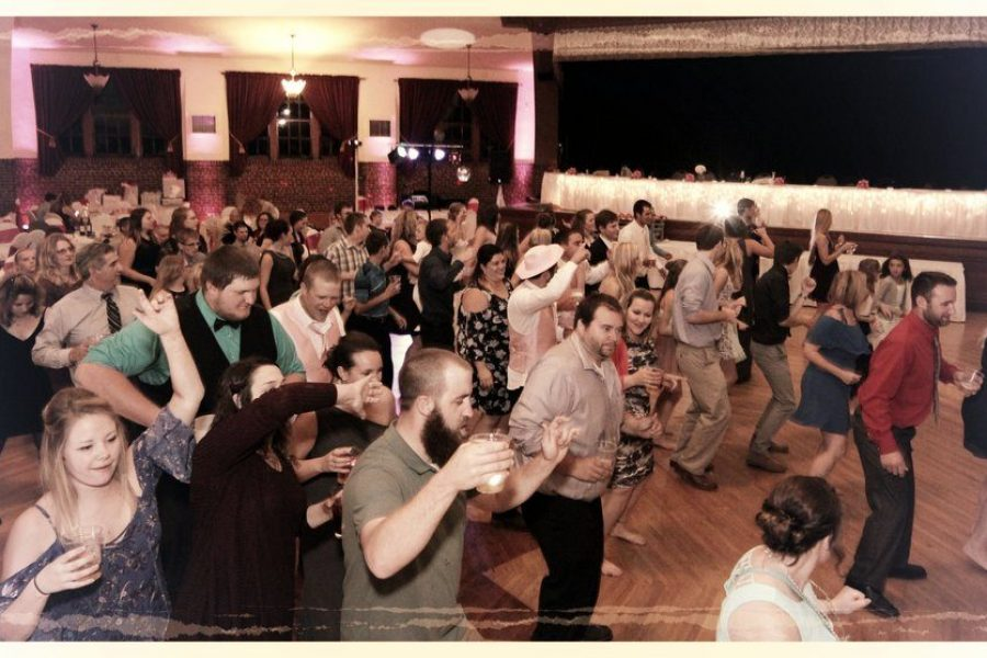 crowded dance floor with music provided by The Wedding DJay