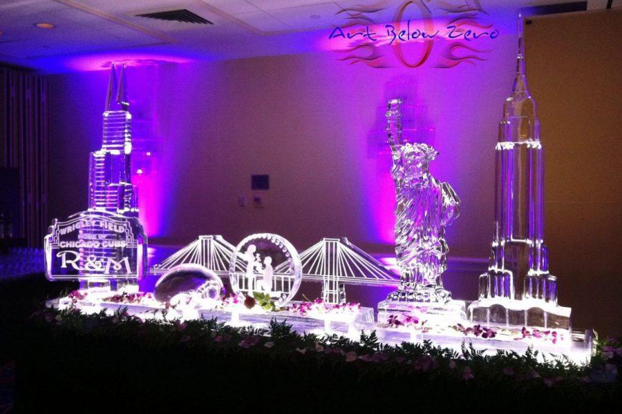 Chicago meets New York Wedding Ice Sculpture