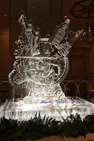 Around the world ice sculpture by Art Below Zero
