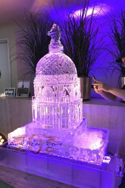 Notre Dame dome 3D ice sculpture by Art Below Zero