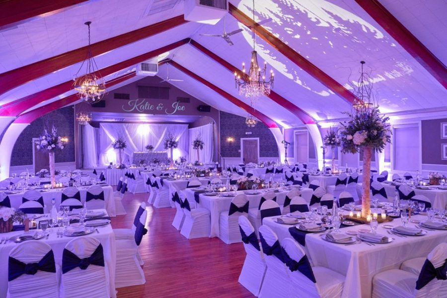 Tuscan Hall Banquet Center all decked out for a wedding reception