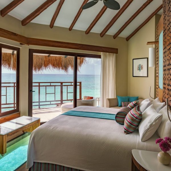Inside room view overlooking ocean in private setting