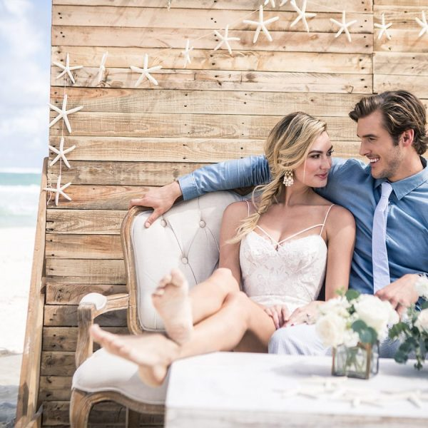 Romantic setting off beach area for honeymooners