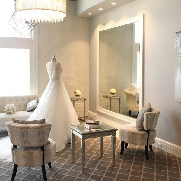 Inside image of White Dress with bridal gown on manikin