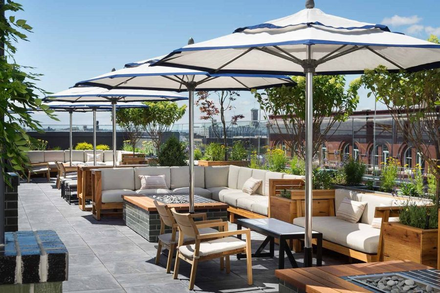 Rooftop patio area at the Kimpton-Journeyman Hotel in Milwaukee, WI
