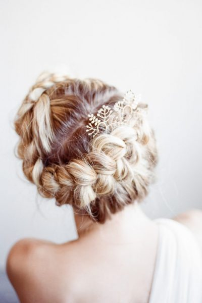 Bridal hair done by wide eyed bride