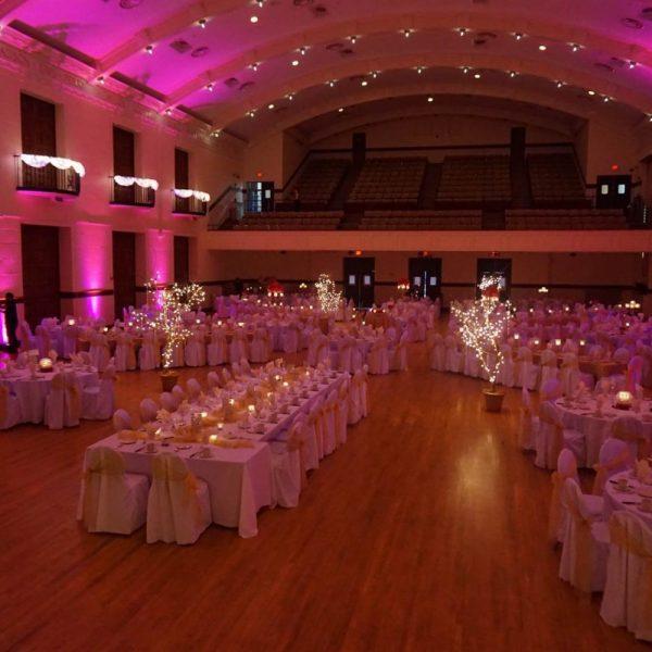 Accent Lighting at Memorial Hall wedding Reception