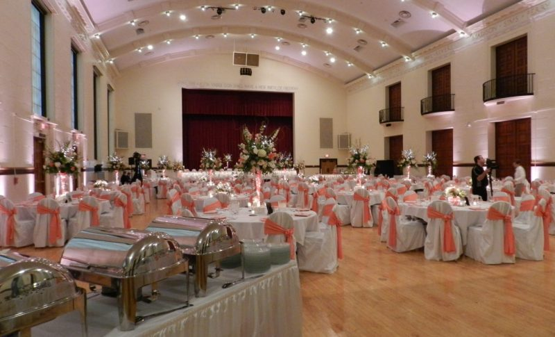 Beautiful decorated wedding at Memorial Hall