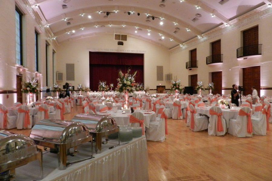 Beautiful decorated wedding at Memorial Hall
