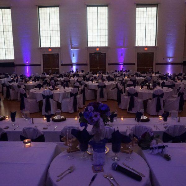 Light purple up lighting at Memorial Hall Ballroom