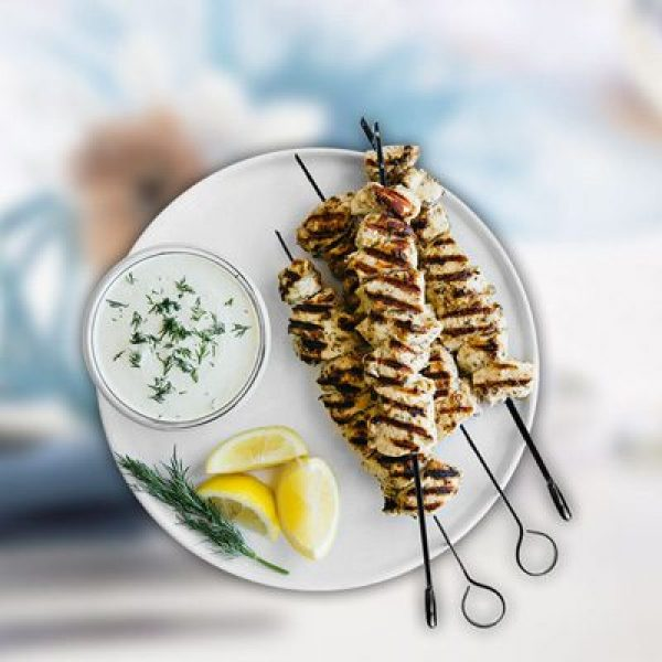 chicken Skewers with dipping sauce