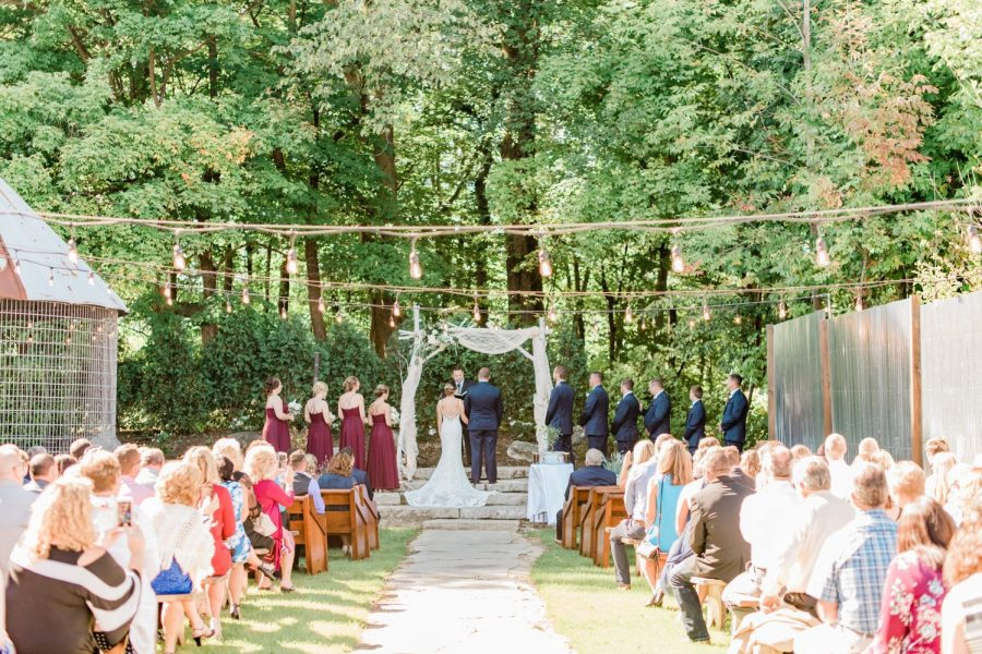 Outdoor wedding ceremony at Terrace 167 in Richfield, WI