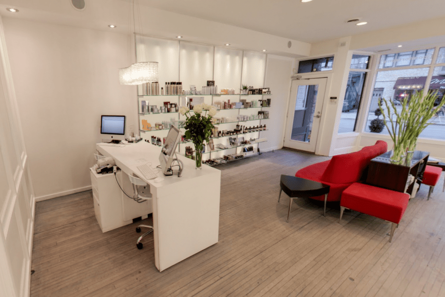 Interior image and seating area of Halo Salon
