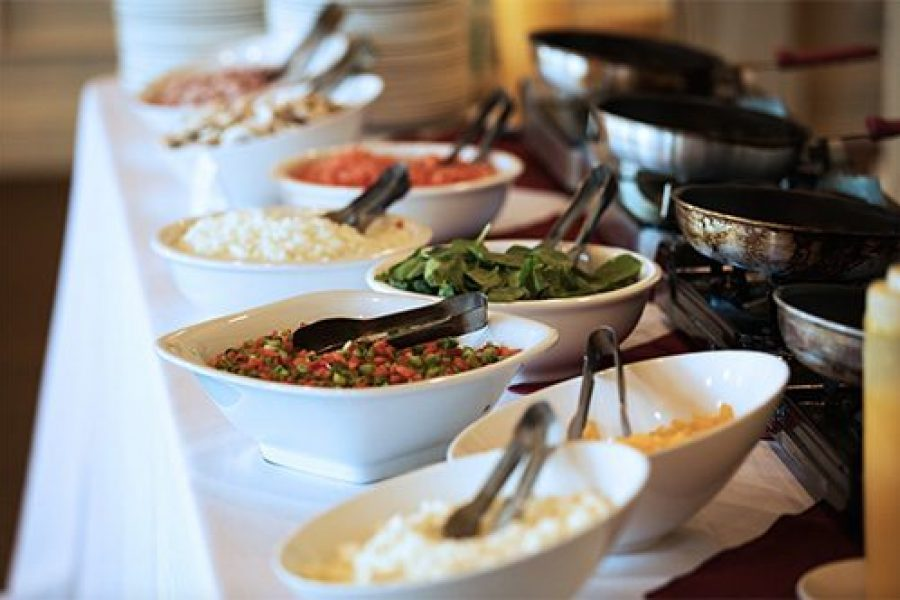 example of wedding food set-up by Geneva Lakes Catering