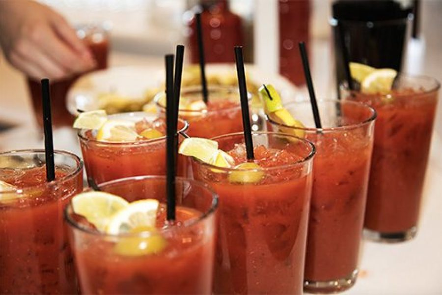 Bloody Mary's with lemon wedges